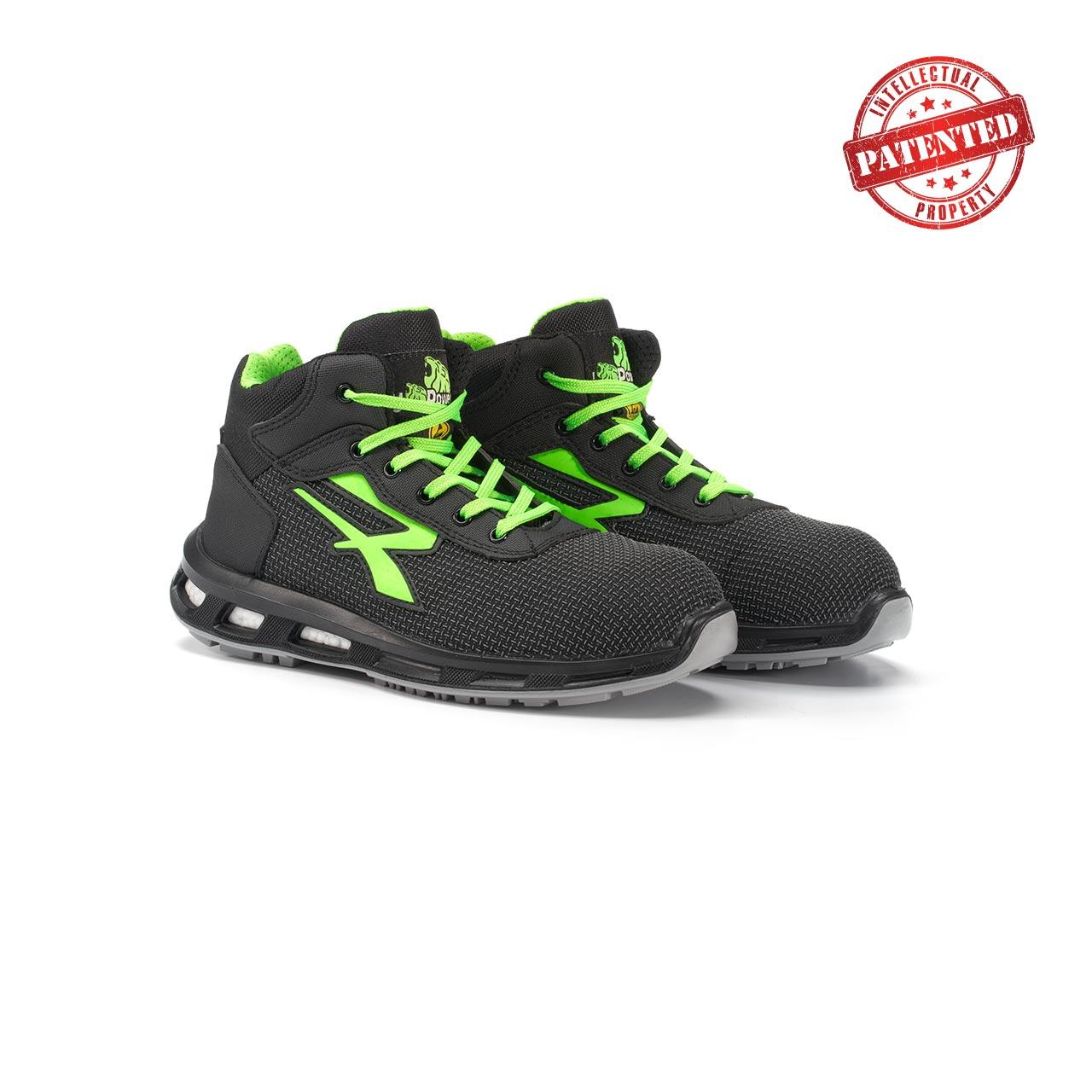 paio di scarpe antinfortunistiche alte upower modello hard linea redlion vista prospettica