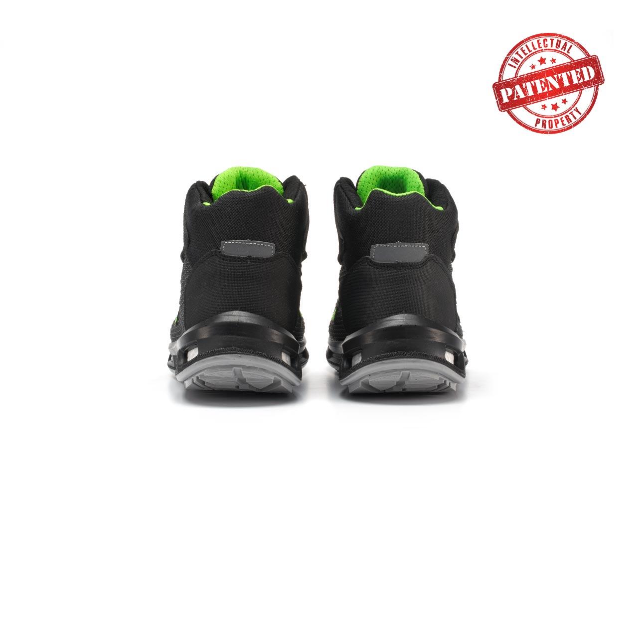 paio di scarpe antinfortunistiche alte upower modello hard linea redlion vista retro