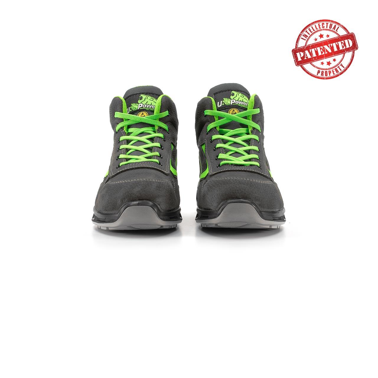 paio di scarpe antinfortunistiche alte upower modello hummer linea redlion vista frontale