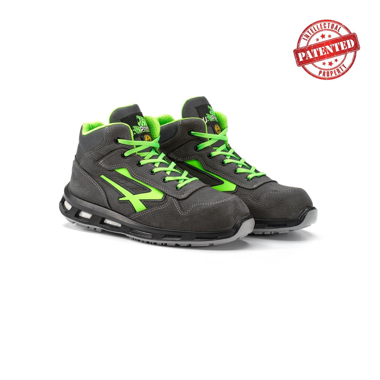 paio di scarpe antinfortunistiche alte upower modello hummer linea redlion vista prospettica