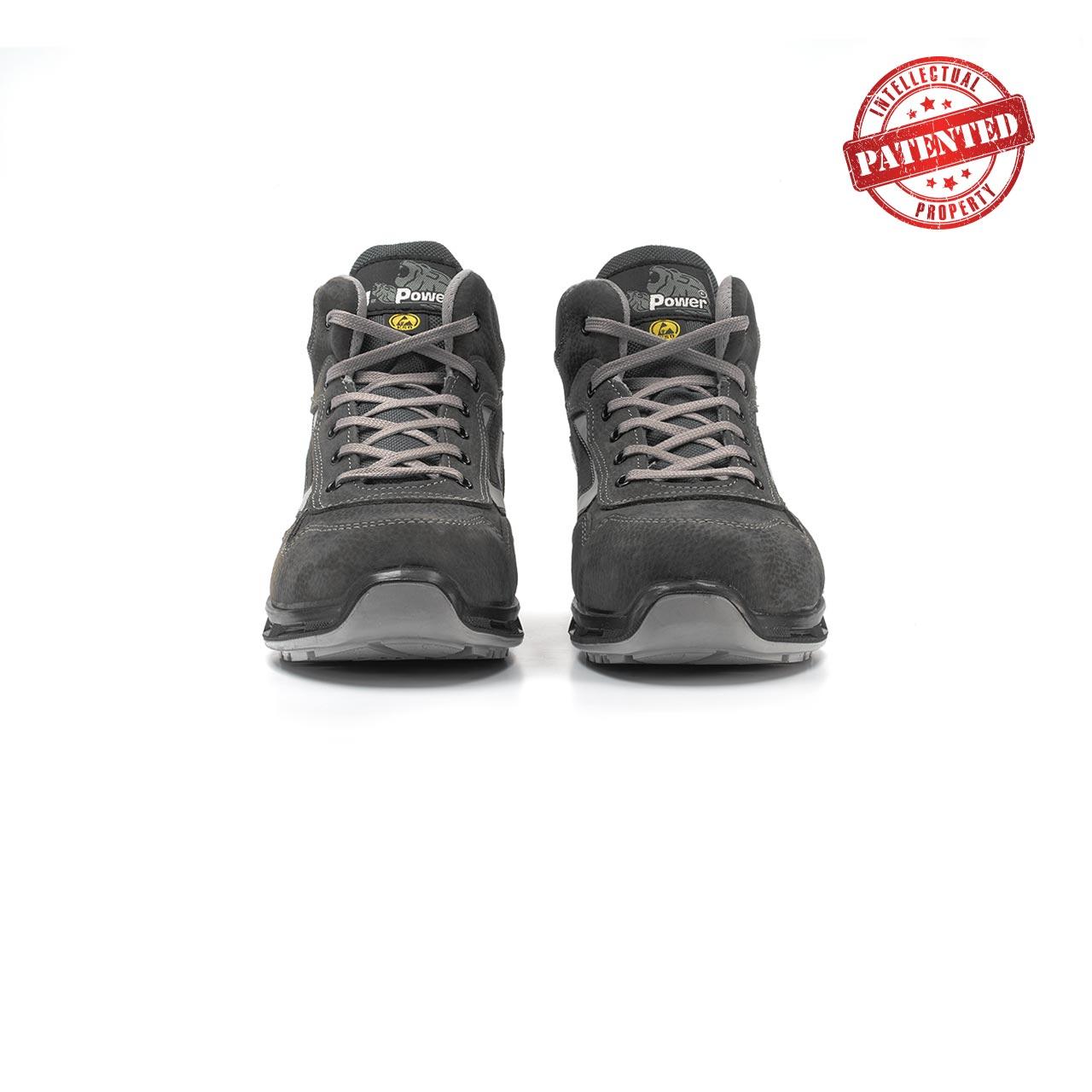 paio di scarpe antinfortunistiche alte upower modello infinity linea redlion vista frontale
