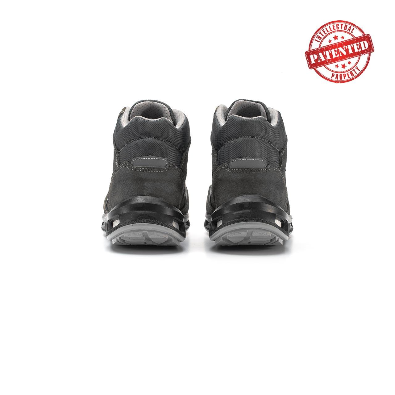 paio di scarpe antinfortunistiche alte upower modello infinity linea redlion vista retro