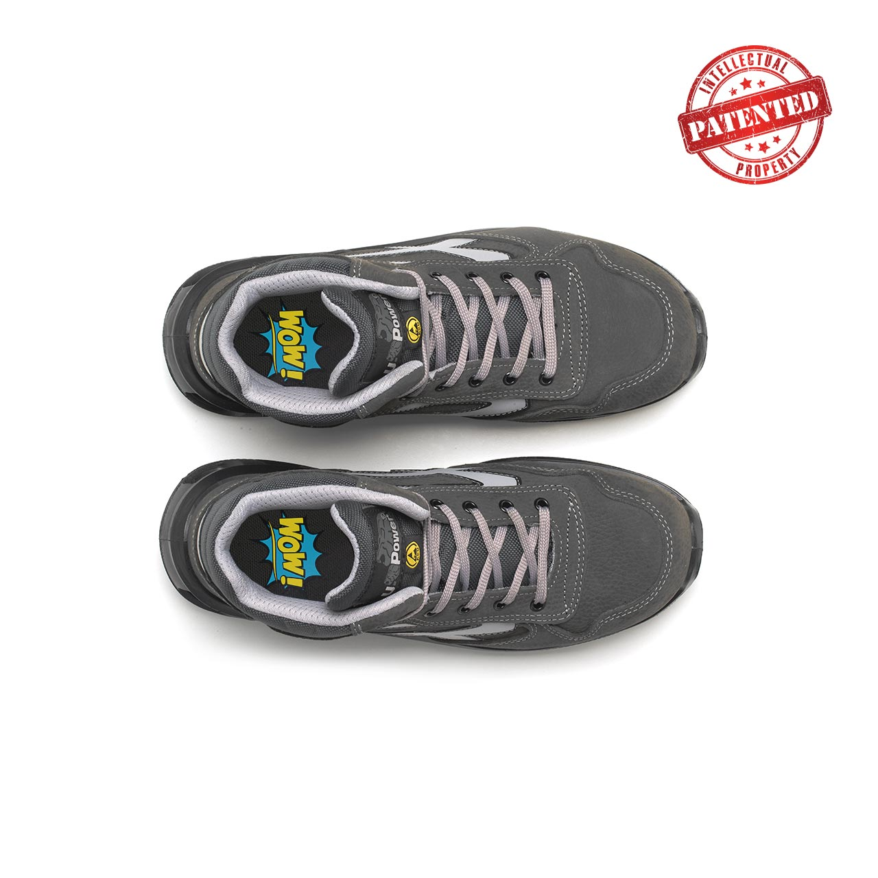 paio di scarpe antinfortunistiche alte upower modello infinity linea redlion vista top