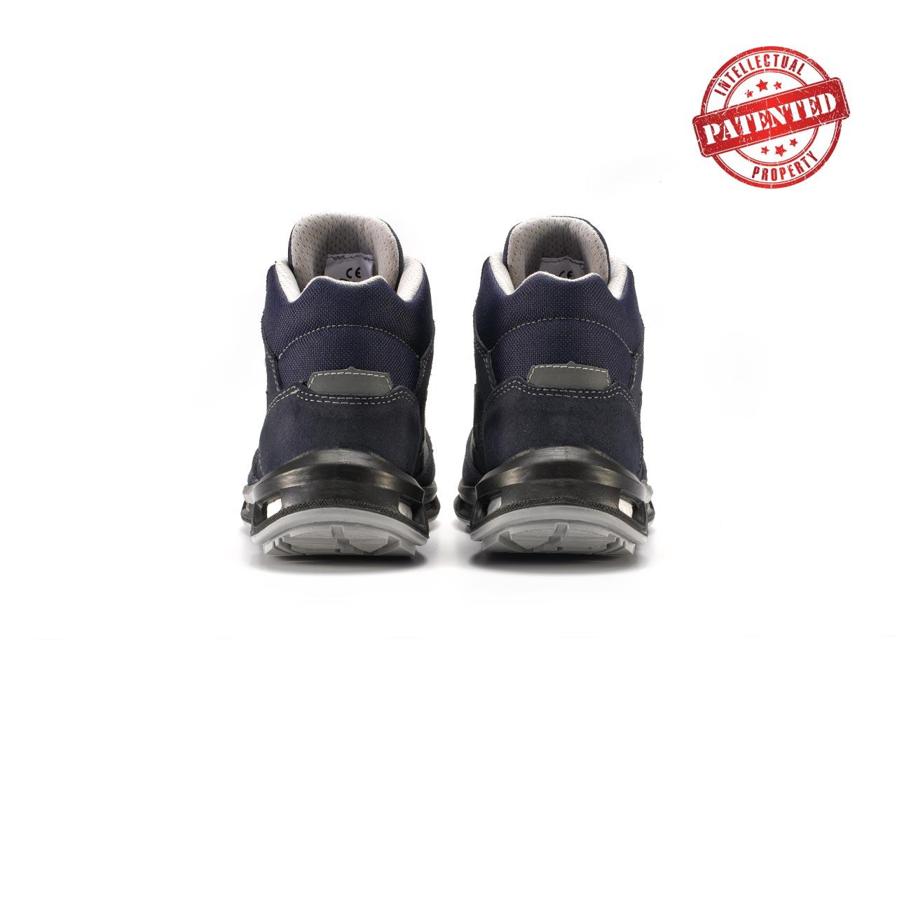 paio di scarpe antinfortunistiche alte upower modello moving linea redlion vista retro