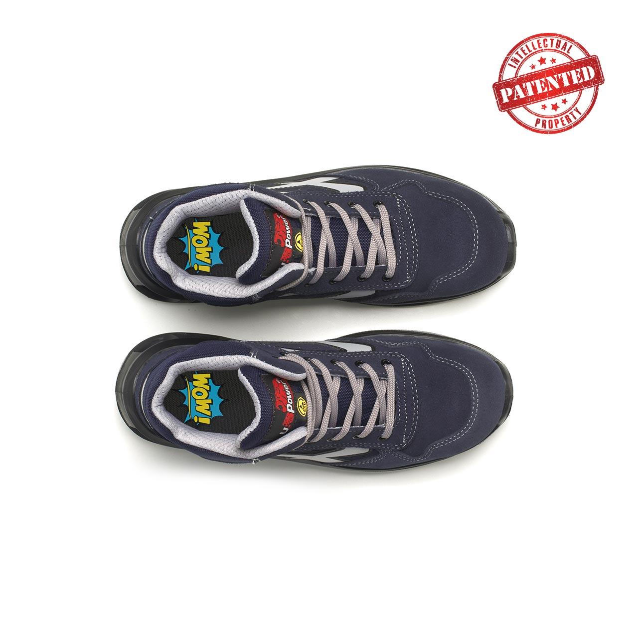 paio di scarpe antinfortunistiche alte upower modello moving linea redlion vista top