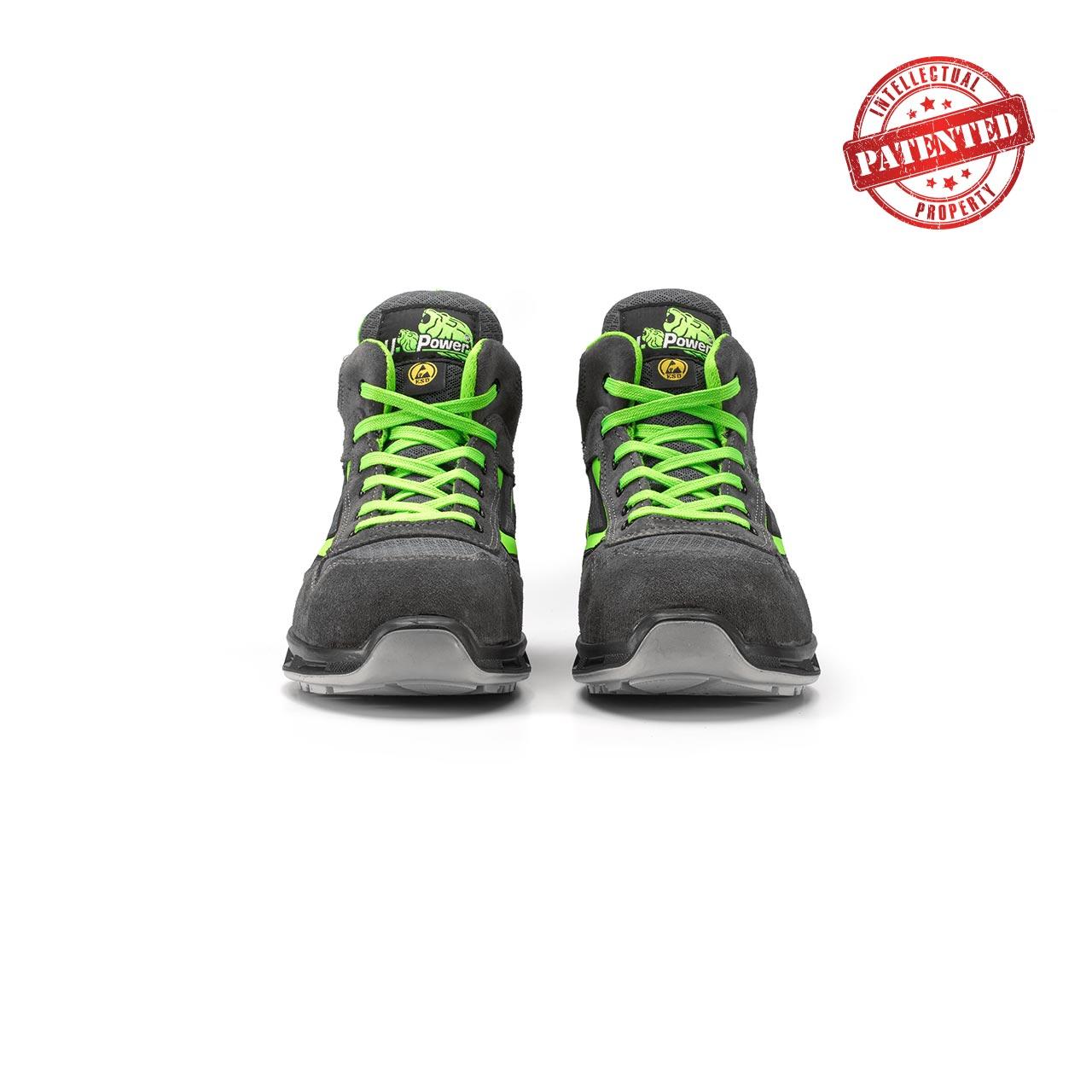 paio di scarpe antinfortunistiche alte upower modello ramas linea redlion vista frontale