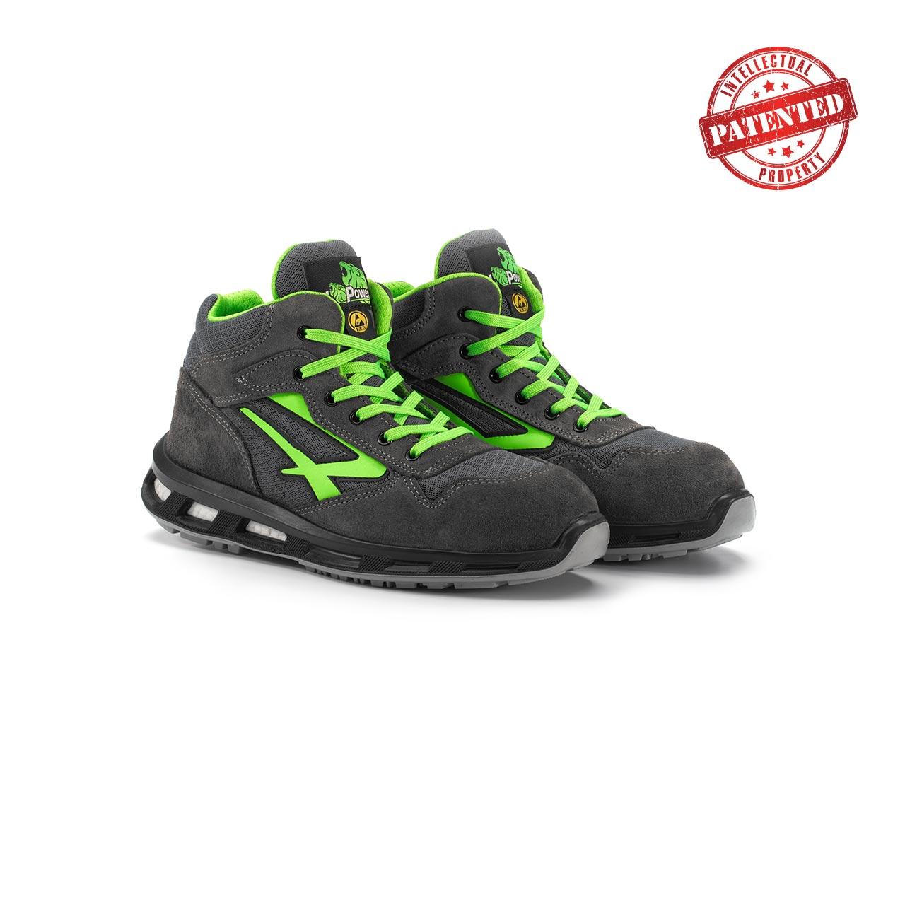paio di scarpe antinfortunistiche alte upower modello ramas linea redlion vista prospettica