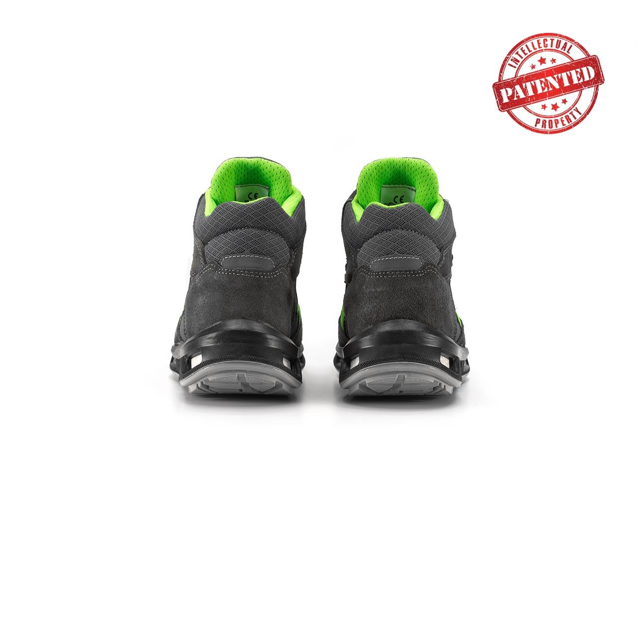 paio di scarpe antinfortunistiche alte upower modello ramas linea redlion vista retro
