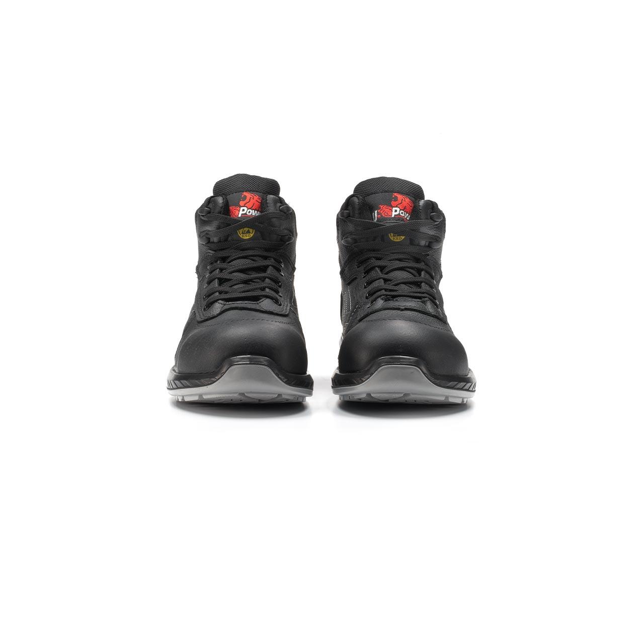 paio di scarpe antinfortunistiche alte upower modello scuro linea redindustry vista frontale