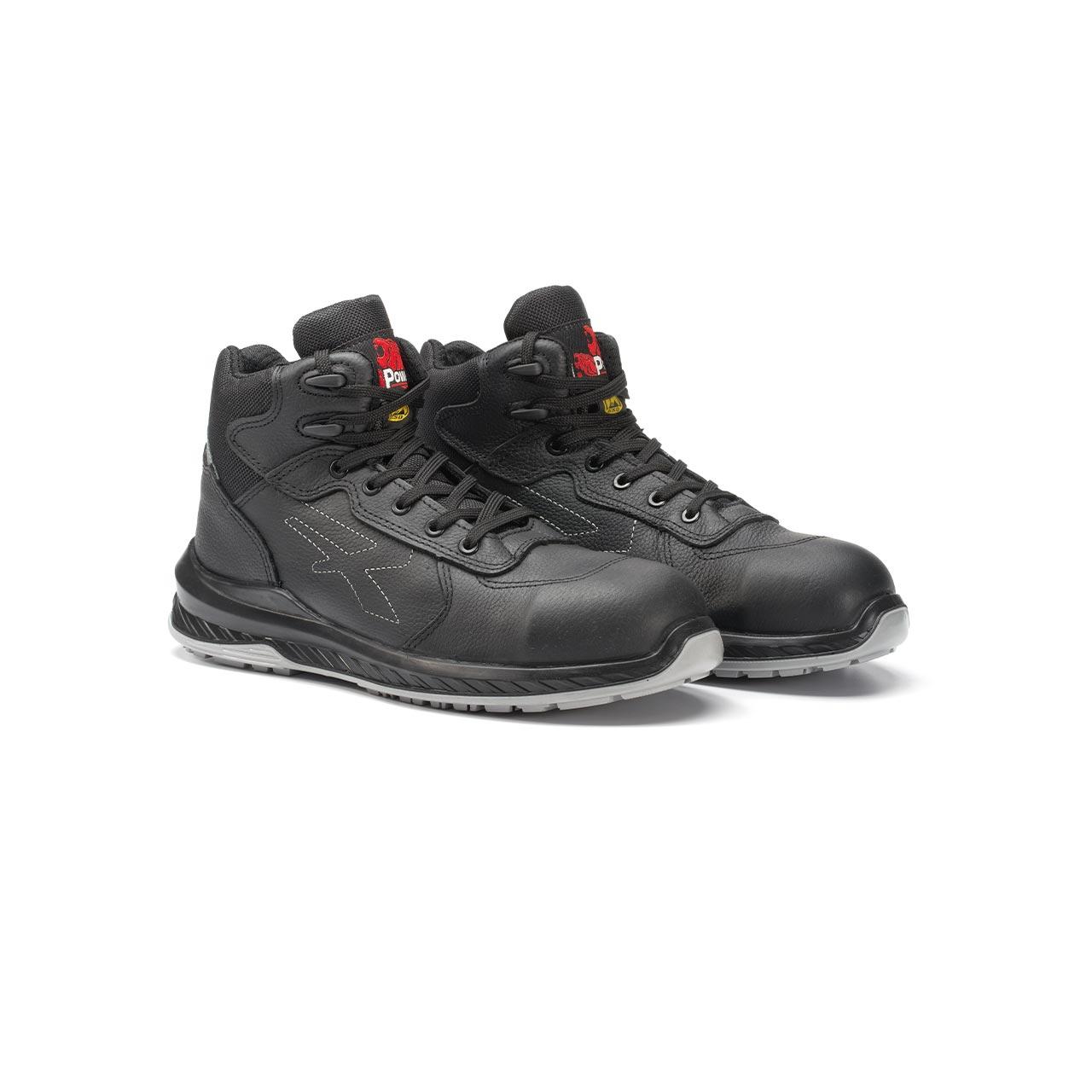 paio di scarpe antinfortunistiche alte upower modello scuro linea redindustry vista prospettica