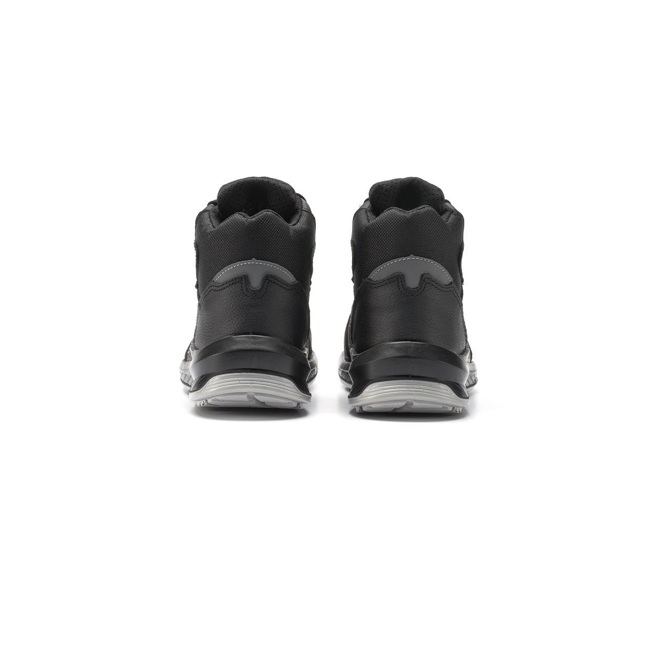 paio di scarpe antinfortunistiche alte upower modello scuro linea redindustry vista retro