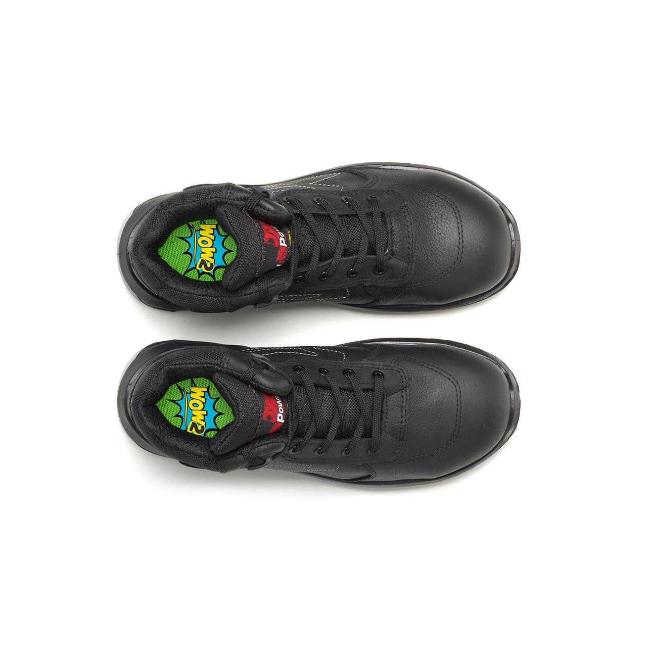 paio di scarpe antinfortunistiche alte upower modello scuro linea redindustry vista top