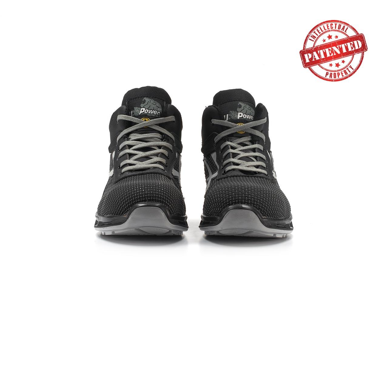 paio di scarpe antinfortunistiche alte upower modello stego linea redlion vista frontale