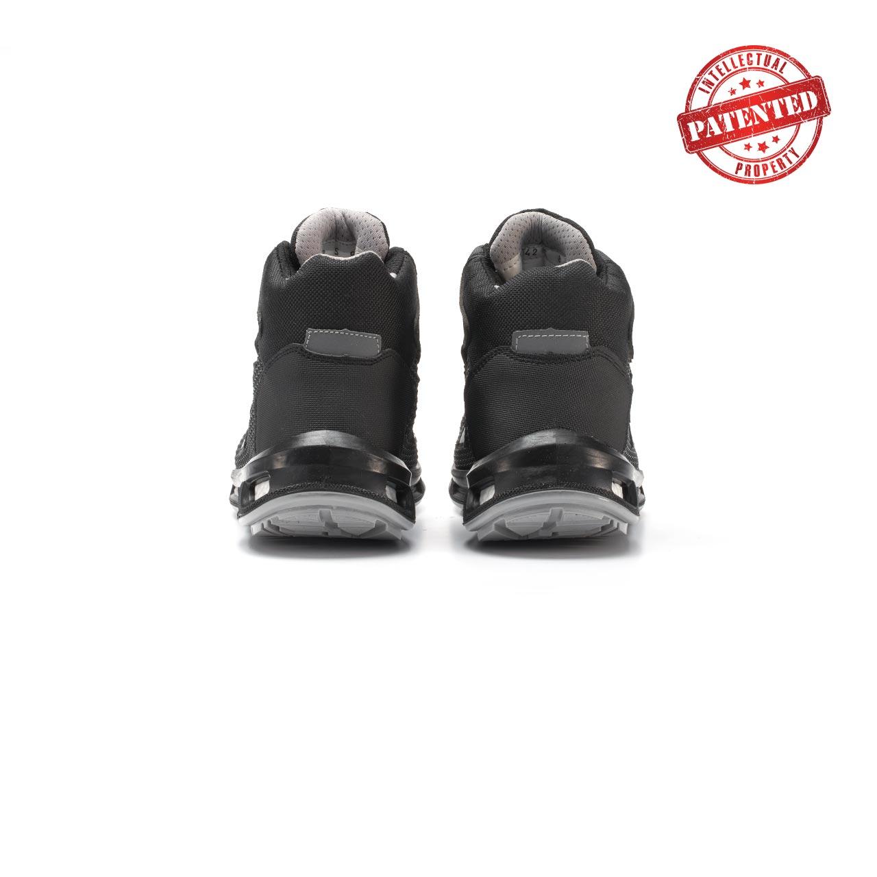 paio di scarpe antinfortunistiche alte upower modello stego linea redlion vista retro