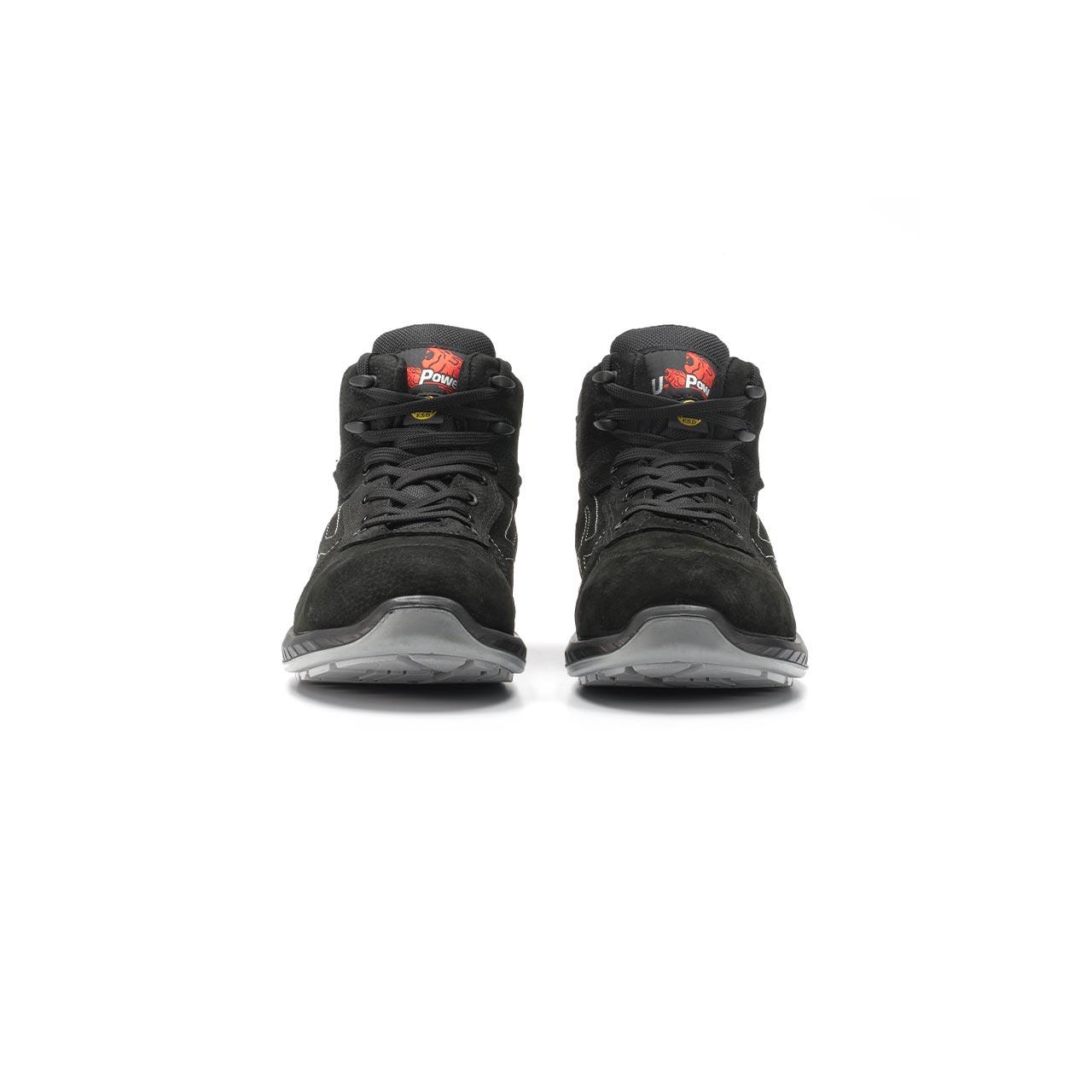 paio di scarpe antinfortunistiche alte upower modello tweed linea redindustry vista frontale