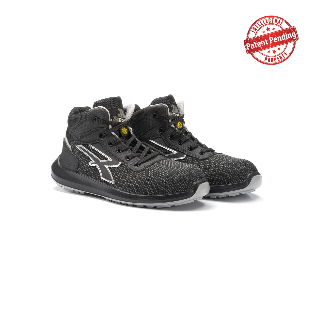 paio di scarpe antinfortunistiche alte upower modello velar linea redup vista prospettica