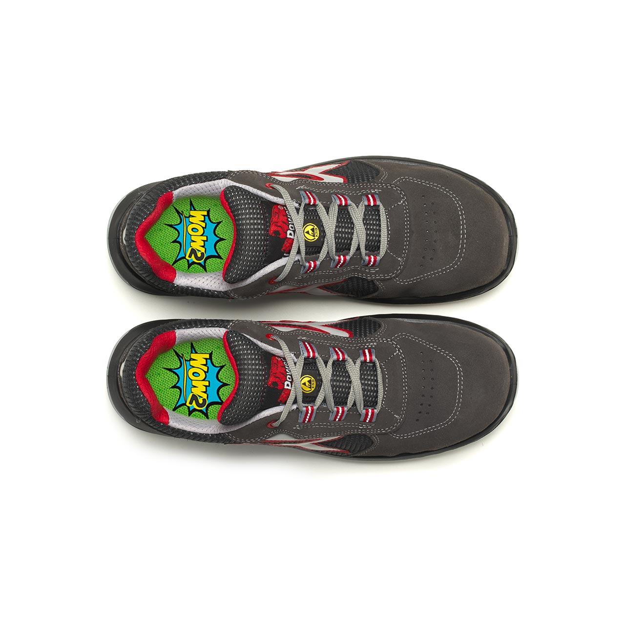 paio di scarpe antinfortunistiche upower modello demon linea redindustry vista top