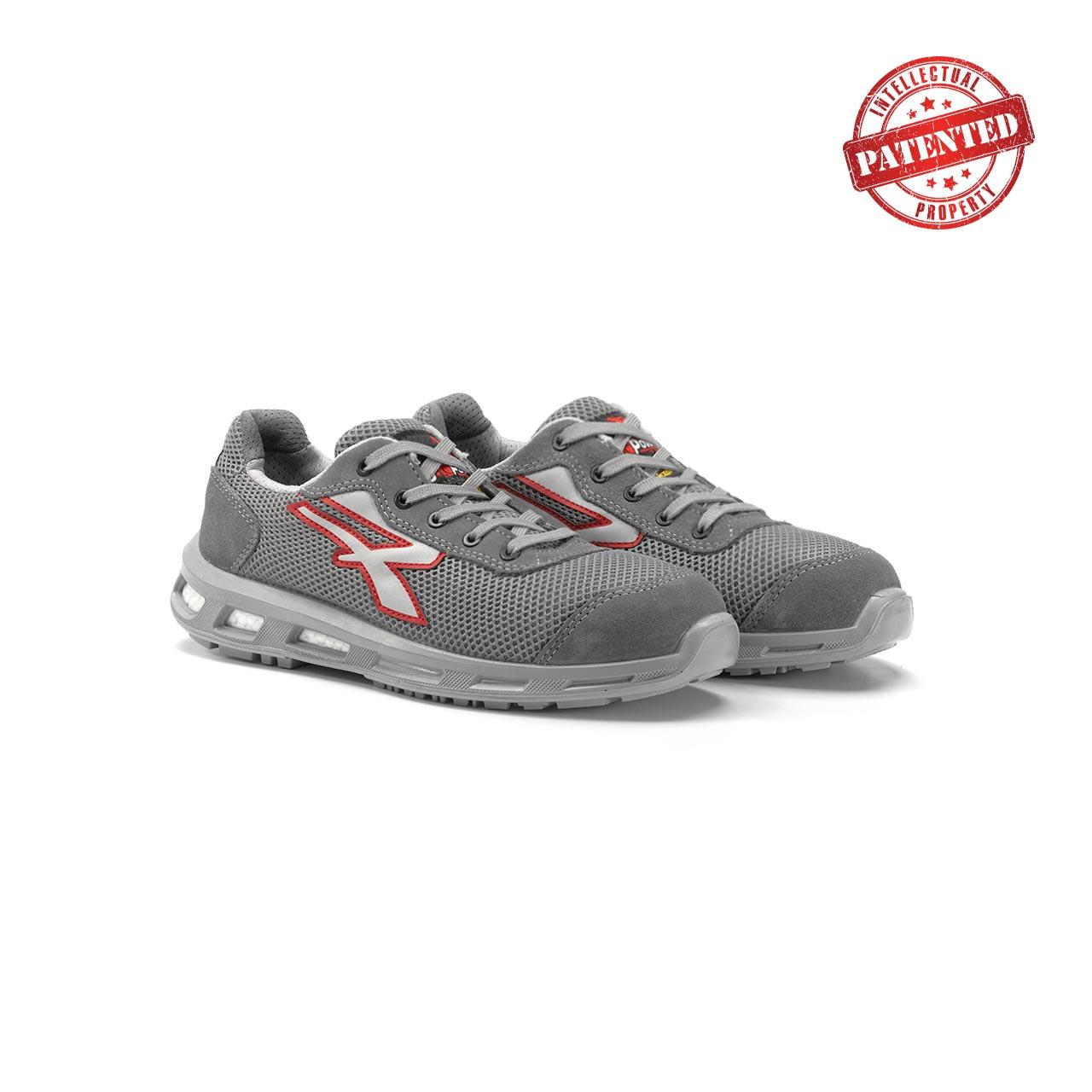 paio di scarpe antinfortunistiche upower modello frequency linea redlion vista prospettica