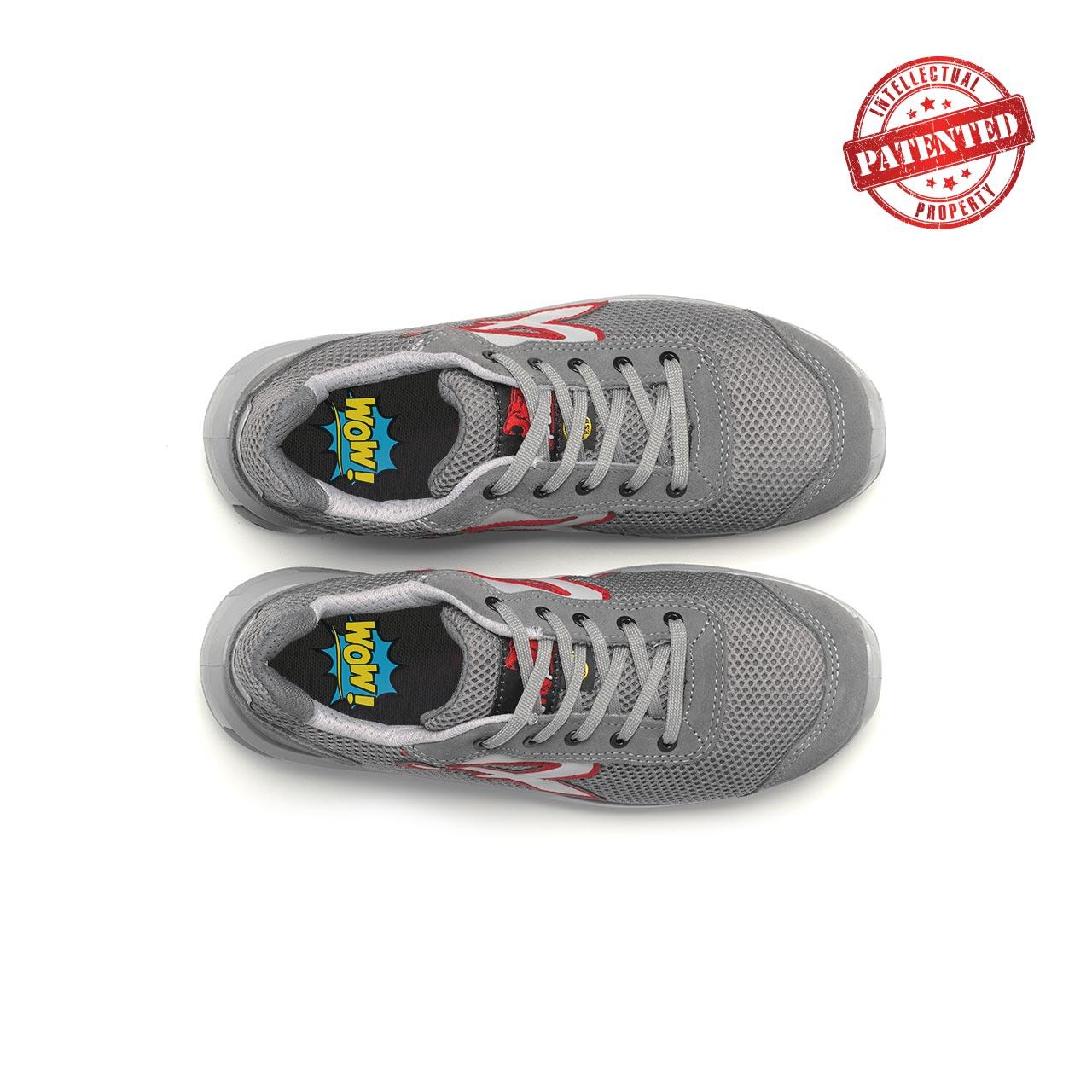 paio di scarpe antinfortunistiche upower modello frequency linea redlion vista top