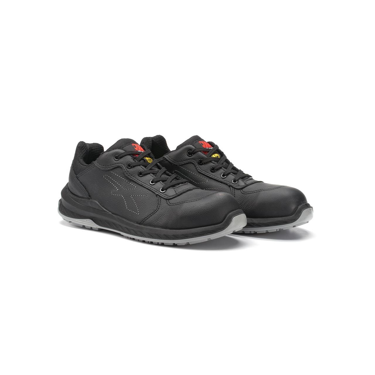 paio di scarpe antinfortunistiche upower modello nero linea redindustry vista prospettica