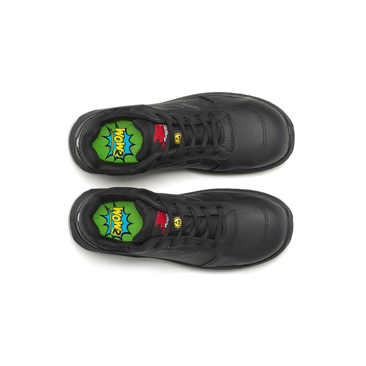 paio di scarpe antinfortunistiche upower modello nero linea redindustry vista top