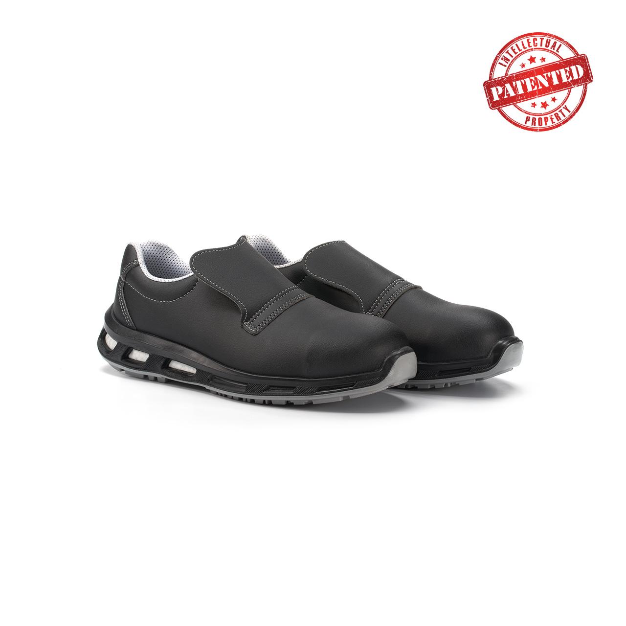 paio di scarpe antinfortunistiche upower modello noir linea redlion vista prospettica