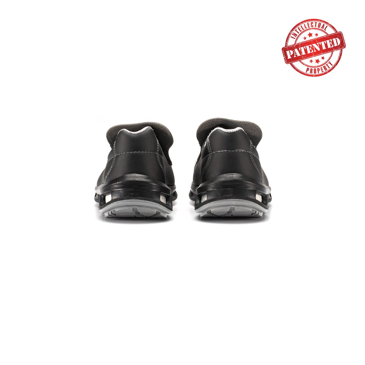 paio di scarpe antinfortunistiche upower modello noir linea redlion vista retro