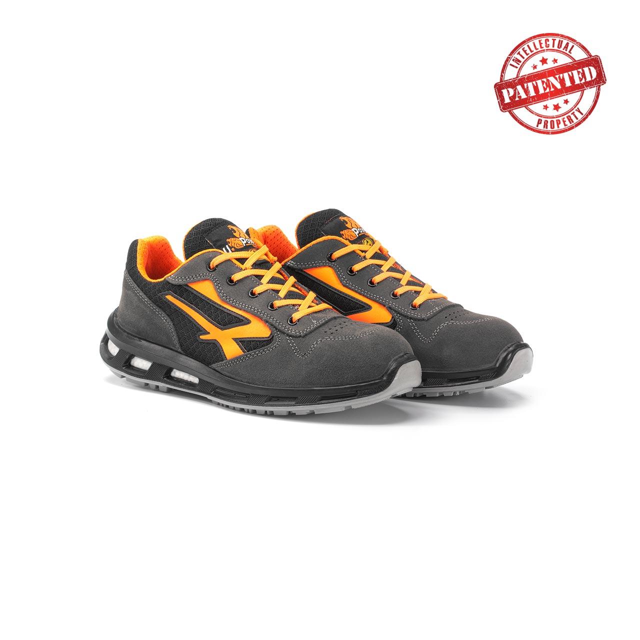 paio di scarpe antinfortunistiche upower modello orange linea redlion vista prospettica