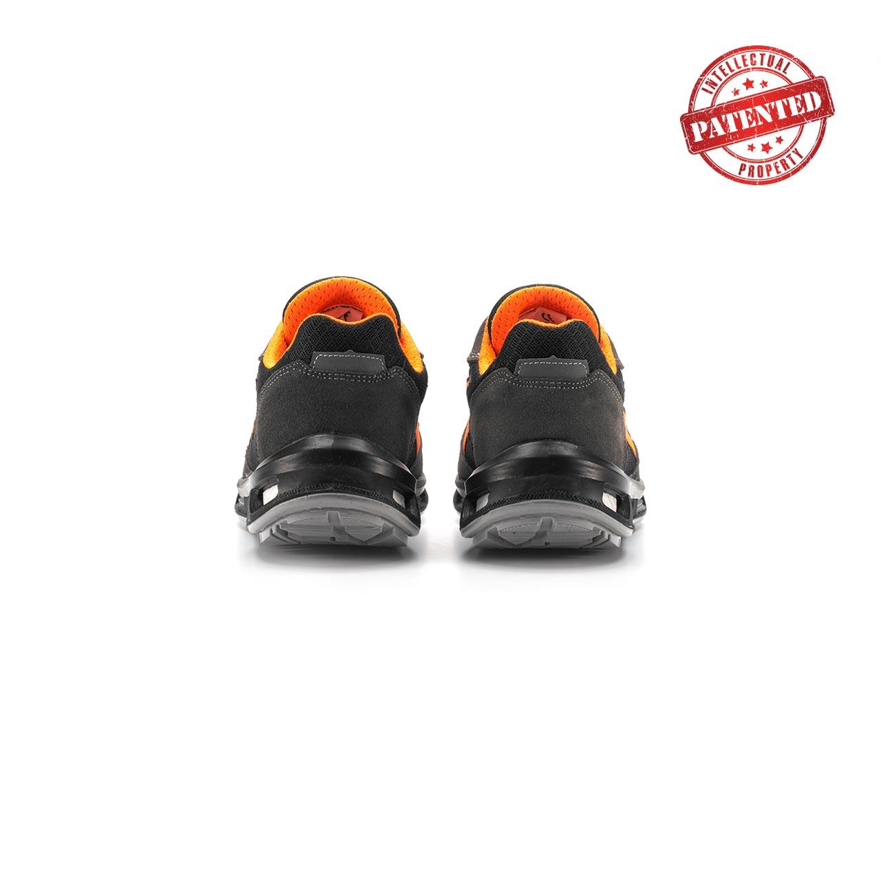paio di scarpe antinfortunistiche upower modello orange linea redlion vista retro