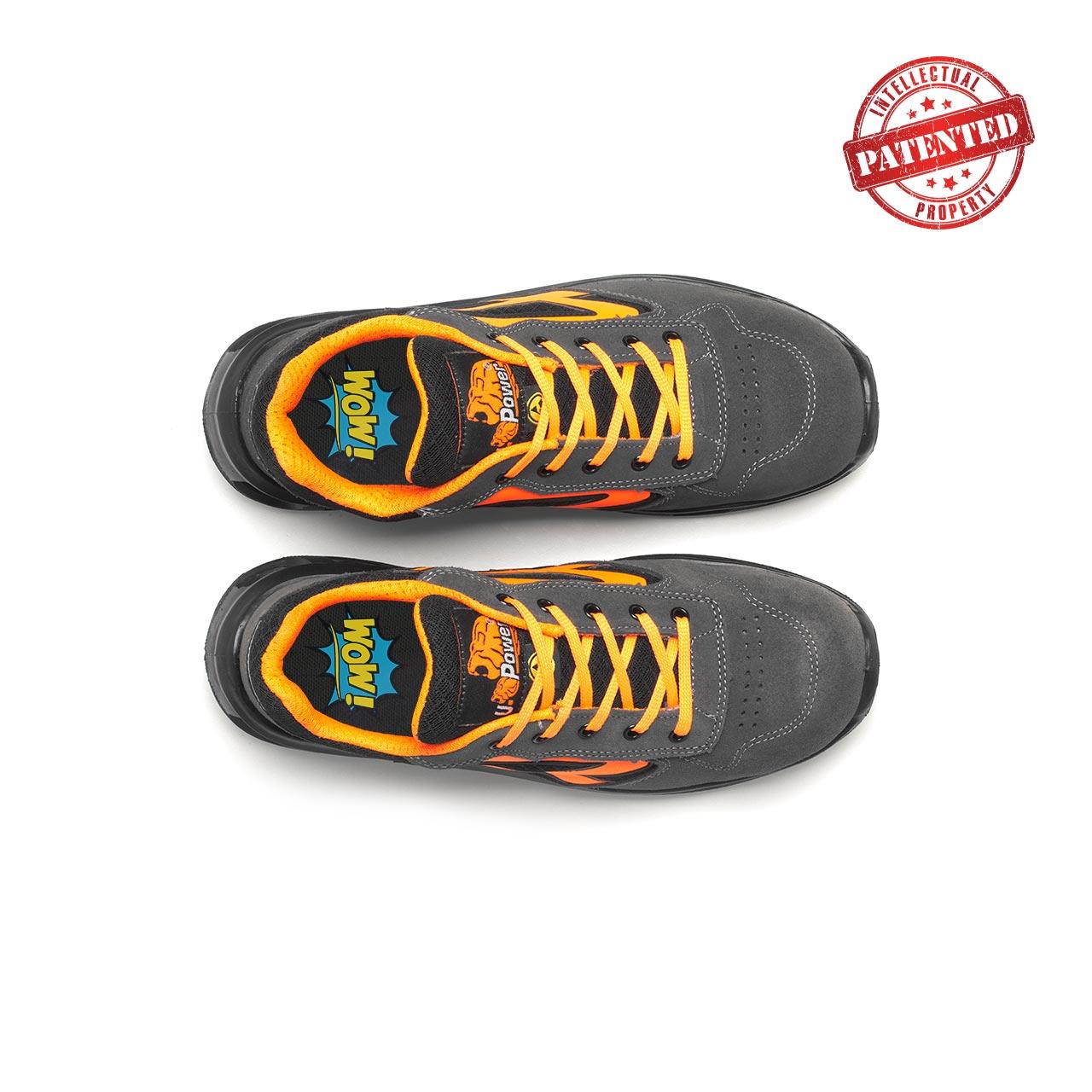 paio di scarpe antinfortunistiche upower modello orange linea redlion vista top