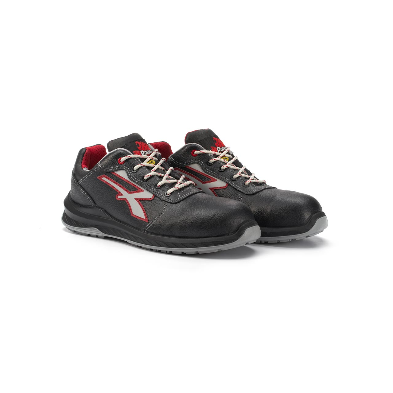 paio di scarpe antinfortunistiche upower modello parigi linea redindustry vista prospettica