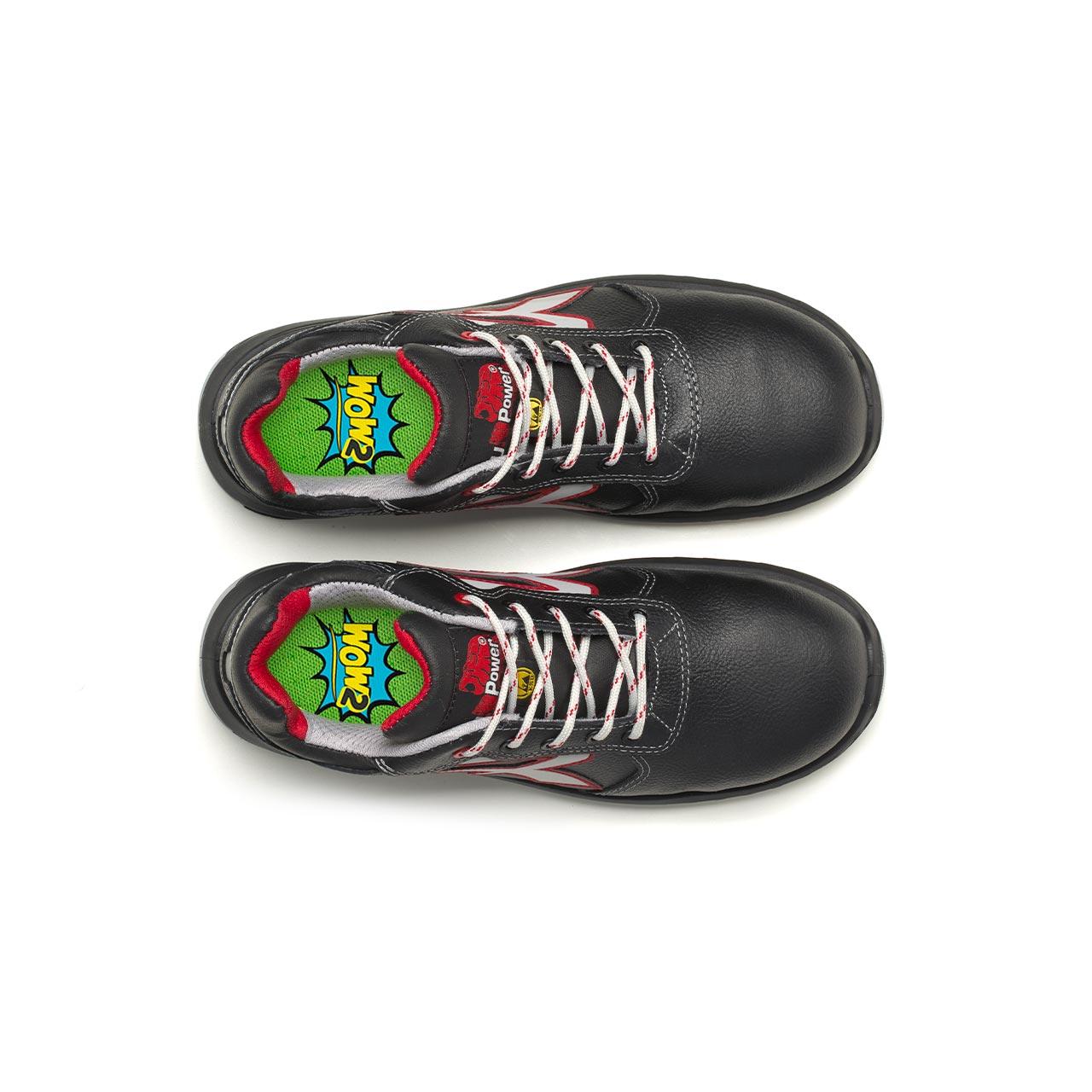 paio di scarpe antinfortunistiche upower modello parigi linea redindustry vista top