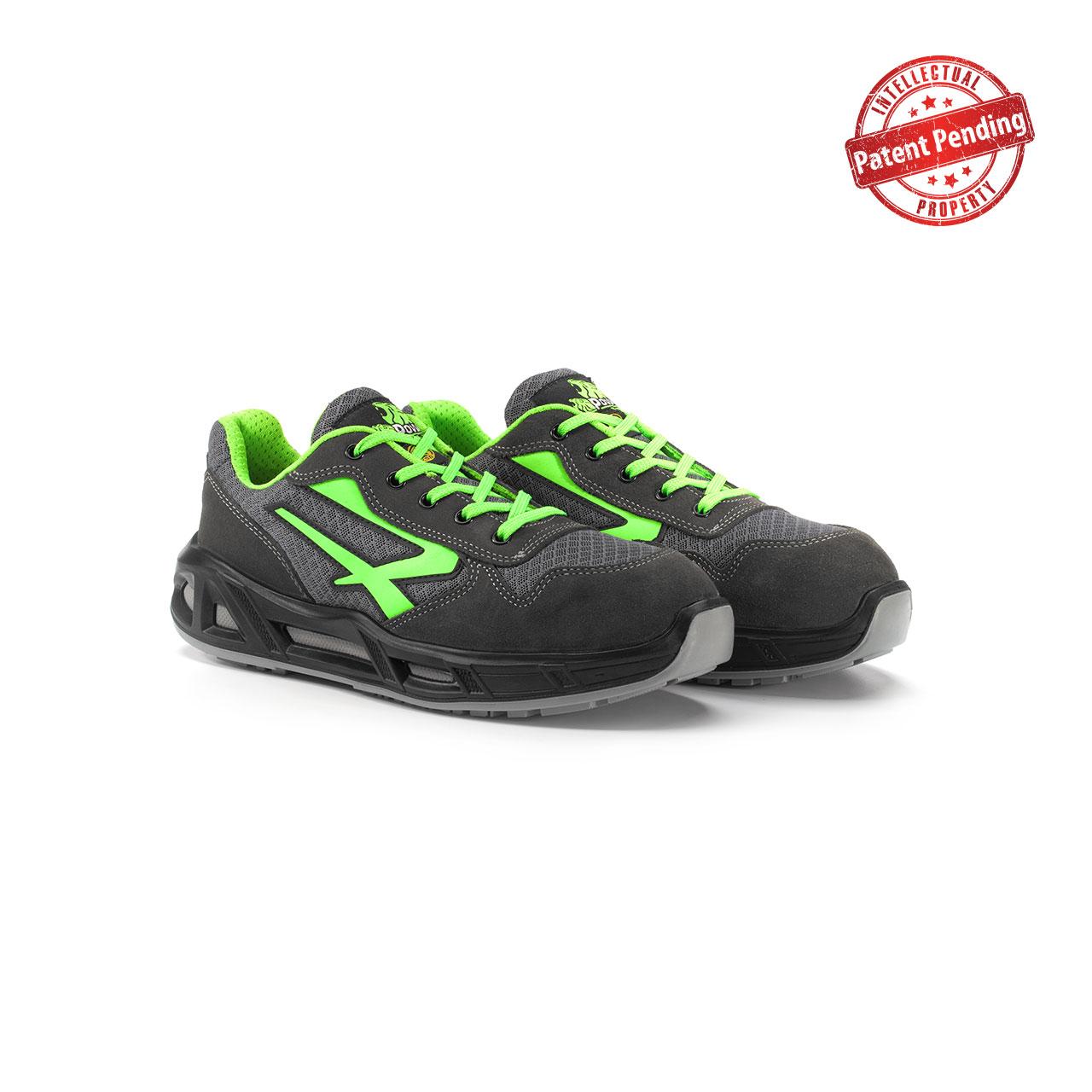 paio di scarpe antinfortunistiche upower modello point carpet linea redcarpet vista prospettica