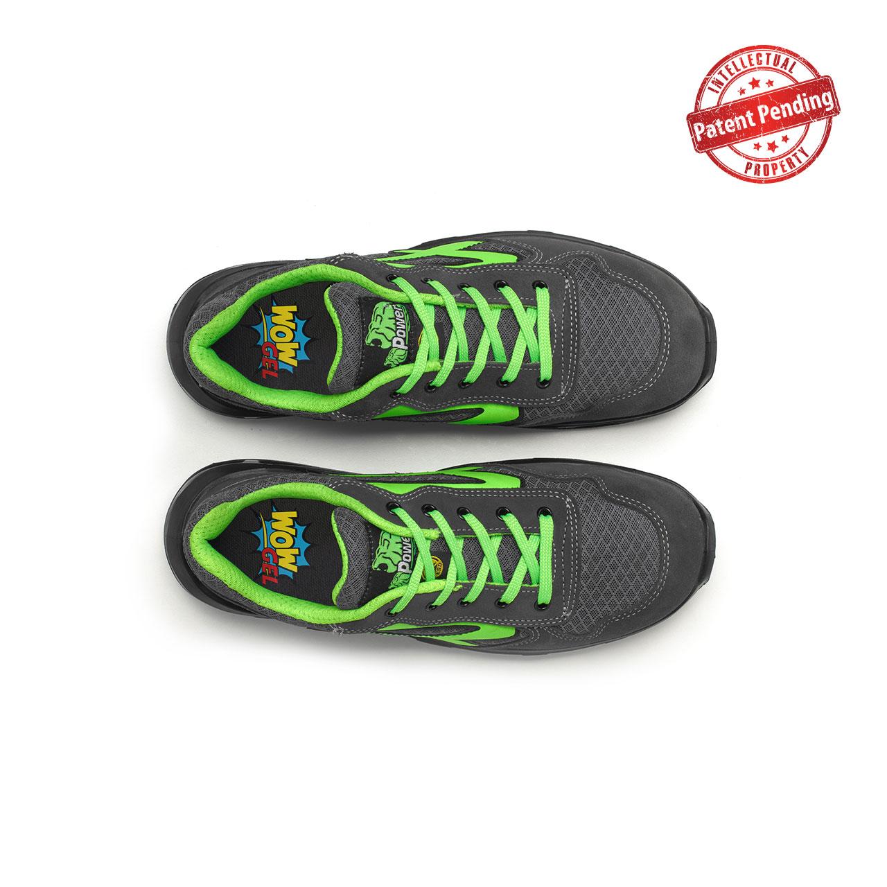 paio di scarpe antinfortunistiche upower modello point carpet linea redcarpet vista top