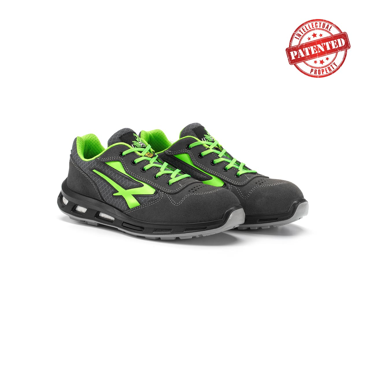paio di scarpe antinfortunistiche upower modello point linea redlion vista prospettica