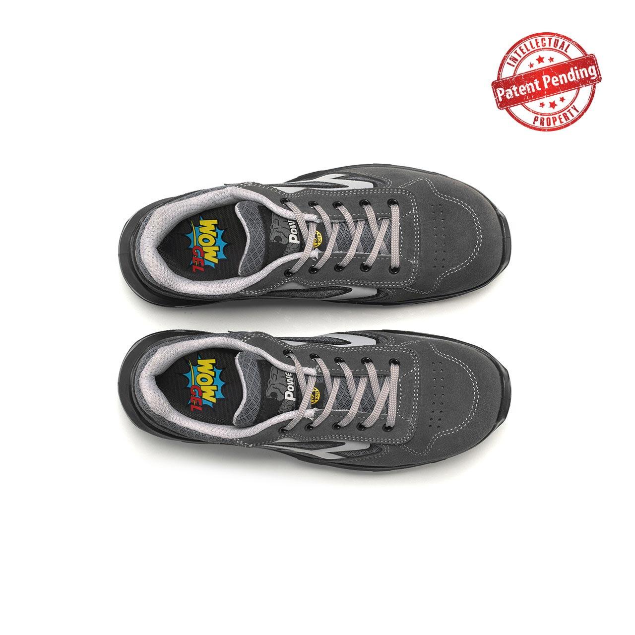 paio di scarpe antinfortunistiche upower modello push carpet linea redcarpet vista top