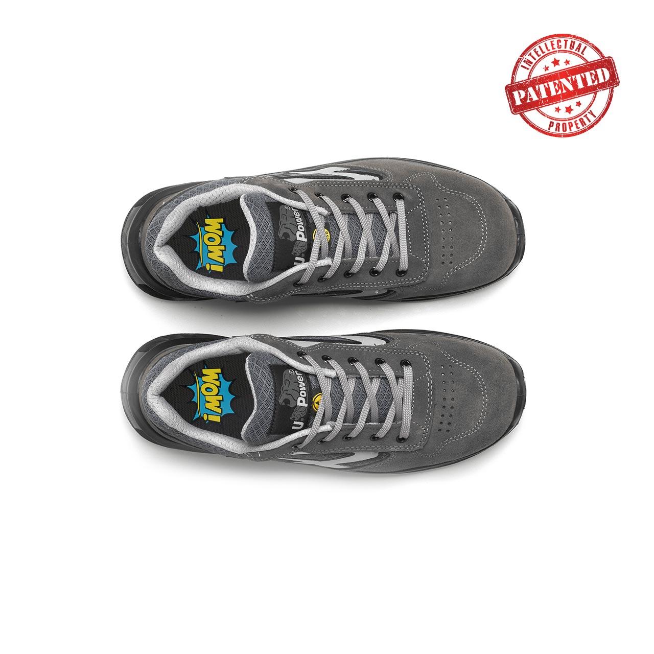 paio di scarpe antinfortunistiche upower modello push linea redlion vista top