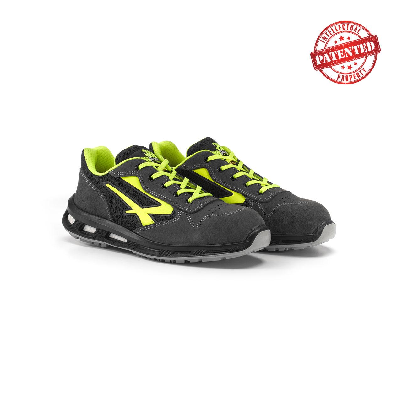 paio di scarpe antinfortunistiche upower modello yellow linea redlion vista prospettica