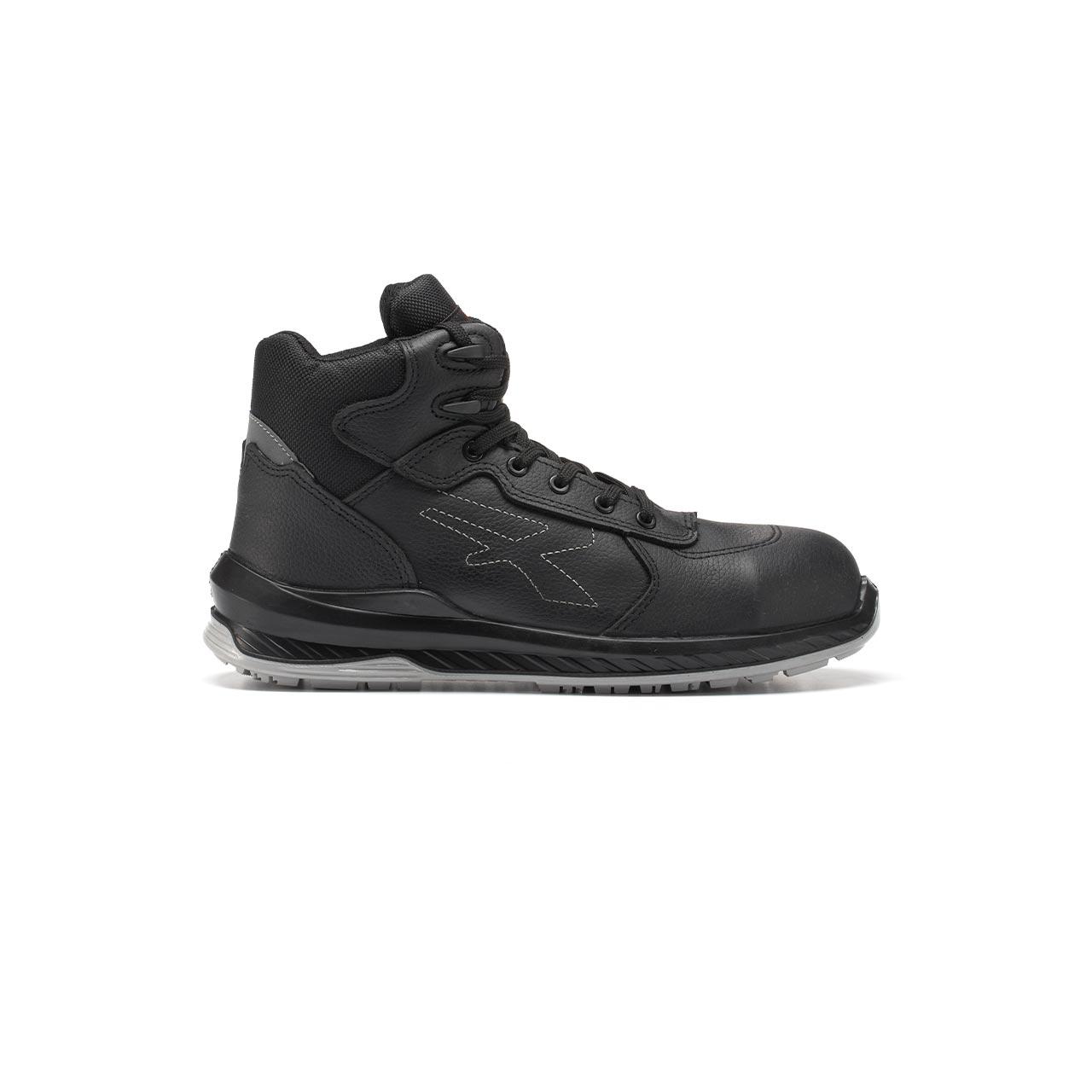 scarpa antinfortunistica alta upower modello scuro linea redindustry vista laterale