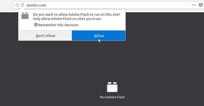 Allow Flash Player in Ubuntu Firefox Web browser
