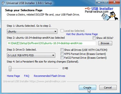 Create Ubuntu Bootable USB on windows 10/7