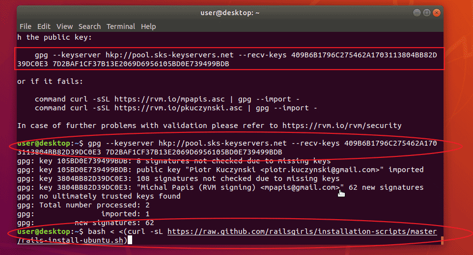 gpg: Can't check signature: No public key ruby on rails