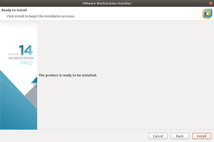 Click on the install button to install VMware Workstation on Ubuntu 18.04.