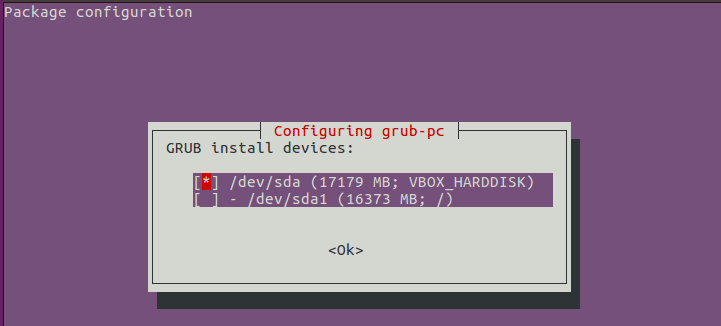 configure grub device