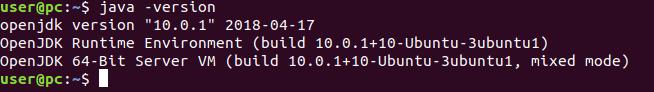 check the Java version in Ubuntu 18.04.