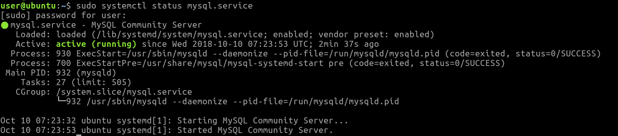After the installation is done, run the systemctl command to check the server status.