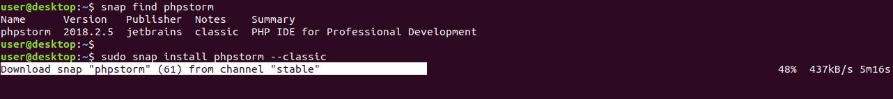 ubuntu snap install phpstorm