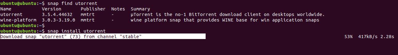 snap install utorrent ubuntu