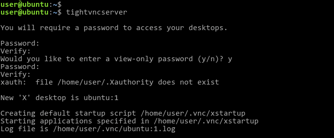 start a new VNC session by using the tightvncserver command