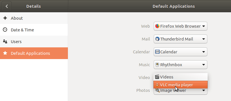 Make VLC default media player on Ubuntu